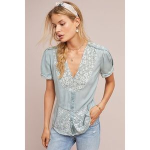 NWT Tiny Anthropologie Blue Lace Button Up TOp